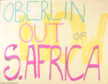 Anti-apartheid poster used during the 1984 demonstration against South African investment, Oberlin College